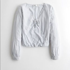 Hollister Blue and White Tie Front Top